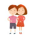 red head girl and boy holding hands vector image