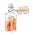 romantic love potion in a heart shaped glass flask vector image vector image