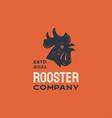 rooster head chicken hen silhouette vintage retro vector image