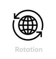 rotation globe icon editable stroke vector image