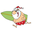 Santa Running On A Beach With A Surfboard vector image