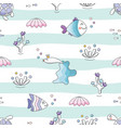 sealife striped background sea fish characters vector image vector image