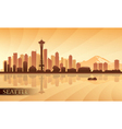 Seattle city skyline silhouette background vector image vector image
