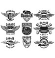 set emblems for car repair garage service vector image vector image