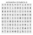 set of monochrome icons with adinkra symbols vector image vector image