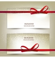 Set of two elegant gift cards with red ribbons vector image vector image