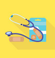 stethoscope medical patch icon flat style vector image
