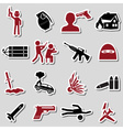terrorism theme set of red and black stickers vector image vector image