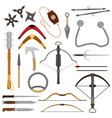 throwing weapon crossbow sharp arrows and vector image vector image