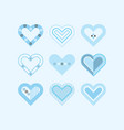 trendy cute blue color assorted hearts poster vector image