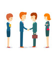two happy businessmen shaking hand to sign vector image vector image