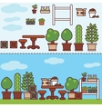 village garden with furniture and plants vector image