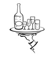 Waiter Hand Holds Wine Tray vector image
