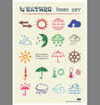 weather web icons set drawn color pencils vector image