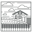 wheat field and village house farming vector image
