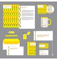 yellow corporate identity stationery set vector image