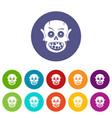 zombie hand icons set flat vector image