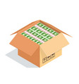 an open cardboard box with bundles dollars vector image vector image