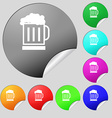 Beer glass icon sign Set of eight multi colored vector image vector image