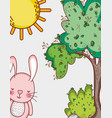 bunny in the forest doodles cartoons vector image vector image