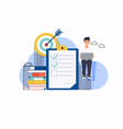 businessman with a laptop checklist on a vector image vector image