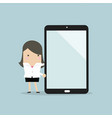 businesswoman with large tablet or smartphone vector image