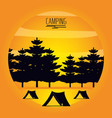 camping zone with tents and landscape vector image vector image