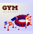 cartoon man training with instructor in gym vector image vector image