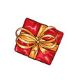 christmas gift box with bow vector image vector image