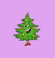 christmas tree cute smiley face character vector image