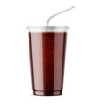 clear disposable plastic cup with cola vector image vector image