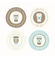 Coffee to go Set of 4 badges vector image vector image