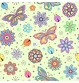 colorful flowers butterflies and ladybugs vector image vector image