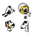 cute comic dog monochrome sticker set vector image
