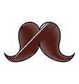 cute scribble moustache cartoon vector image vector image