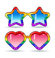disco sunglasses in the shape of hearts and stars vector image vector image