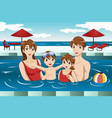 family in a swimming pool vector image