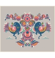 Floral pattern with two birds in Gorodets style vector image