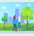 friends leisure urban park walking women vector image vector image