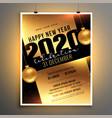 golden flyer design for 2020 new year celebration vector image vector image