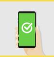 green checkmark on smartphone screen vector image