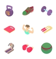 Gym icons set cartoon style vector image vector image