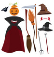 halloween magic equipment and clothes set vector image