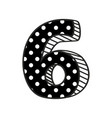 hand drawn number 6 with white polka dots on black vector image vector image
