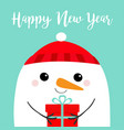 happy new year snowman head face holding gift box vector image vector image