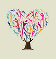heart shape tree made of people for love concept vector image vector image