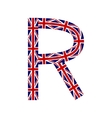 Letter R made from United Kingdom flags vector image vector image