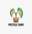 logo potted taro gradient colorful style vector image