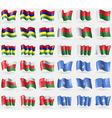 Mauritius Madagascar Oman Somalia Set of 36 flags vector image