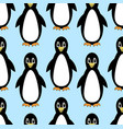 penguins cute cartoon on seamless light blue vector image vector image